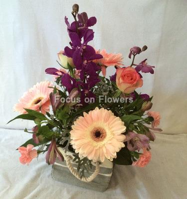 rope bag of flowers